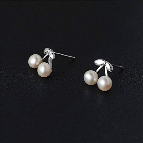LLZER S925 Sterling Silber ruhig und elegant Temperament Perle Silber kleine Kirsche Ohrringe weiblichen Silberschmuck -