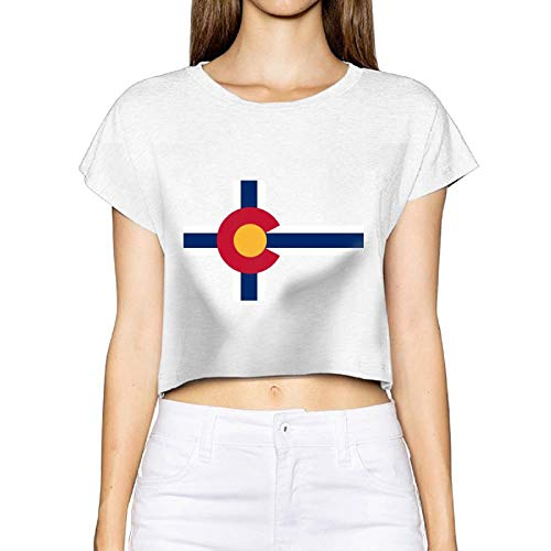 Frauen Sexy Revealed T-Shirt Flagge Colorado Kurzarm Casual Sommer Tees Bluse Tops Nabel (Medium, Weiß) -