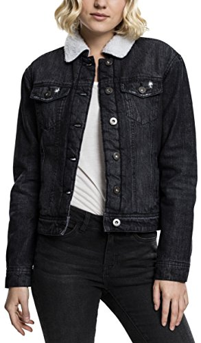 Urban Classics TB1740 Ladies Sherpa Denim Jacket, klassische Trucker Jeansjacke mit Fell für Frauen,  für Herbst und Winter, warm gefüttert - black washed, Größe L