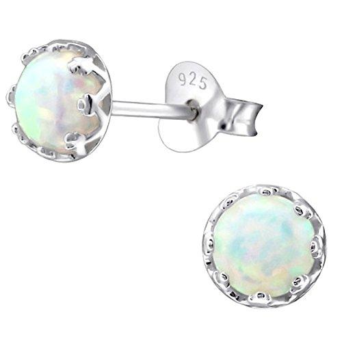 EYS JEWELRY Damen Ohrstecker rund 925 Sterling Silber synthetischer Opal weiß 5 mm Ohrringe im Geschenk-Etui (Ohrringe Opal Ohrstecker)