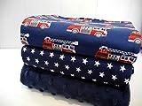 Qjutie Lottashaus No94 Jersey Stoffpaket 3 Stück 50x70cm Marine Dunkelblau Sterne Feuerwehr Feuerwehrauto Baumwolljersey Kinder Kleidung Stoffe