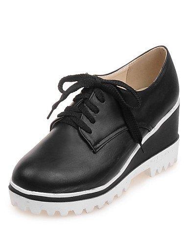 ZQ hug Scarpe Donna-Sneakers alla moda-Tempo libero-Zeppe / Comoda / Punta arrotondata-Zeppa-Finta pelle-Nero / Bianco , white-us8 / eu39 / uk6 / cn39 , white-us8 / eu39 / uk6 / cn39 white-us5 / eu35 / uk3 / cn34