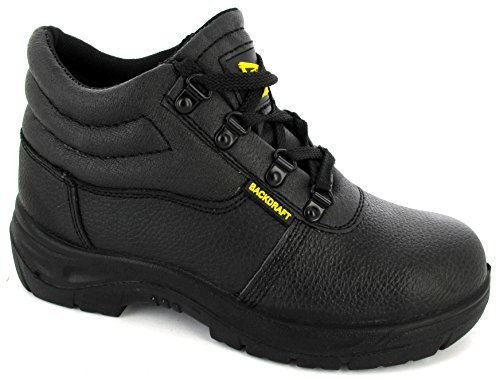 MENS BLACK CHUKKA SAFETY STEEL TOE WORK SHOE LACE BOOT TRAINER MIDSOLE - 10 UK