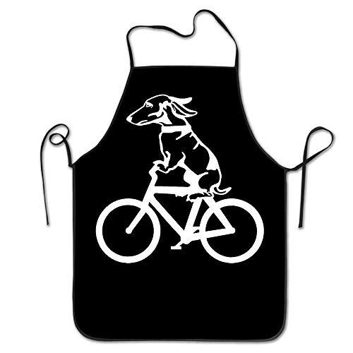 Dog Riding A Bike Cartoon Unisex Kitchen Bib Apron Cafe Tea Shop with Adjustable Neck Chef's Apron (Bike Neck)