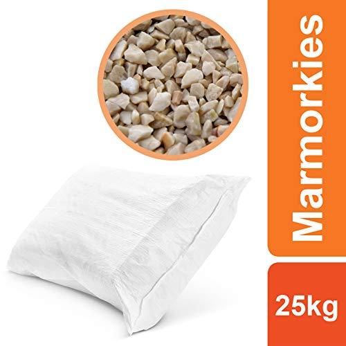 BEKATEQ BK-590 Marmorkies Naturstein, Botticino 25kg, Marmorsplitt, gewaschen, 3-5mm, Steinteppich