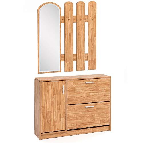 FineBuy Garderobenset Holz mit Schuhkipper, Spiegel und 3 Haken in Buche | Garderobe mit Wandgarderobe | Flurgarderobe