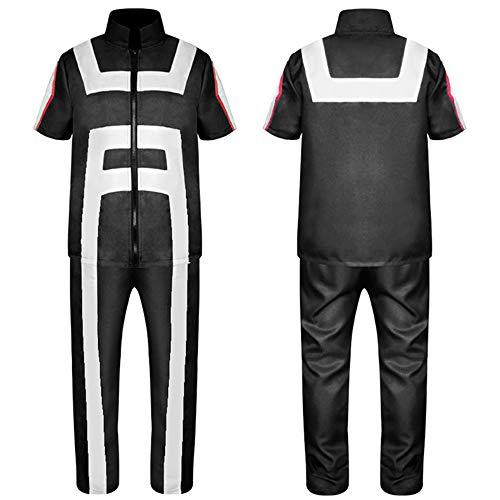 DuHLi My Hero Academia Polo T-Shirt Hosen Schwarz Cosplay Kostüme Sport College Gymnastik Anzug Halloween Kostüme für Männer Erwachsene Frauen,E,L