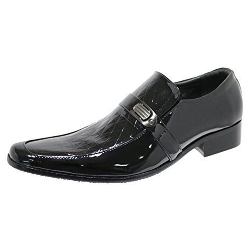 Robelli Designer Men's Faux Patent Leather & Diamond Pattern Smart Loafer Dress...