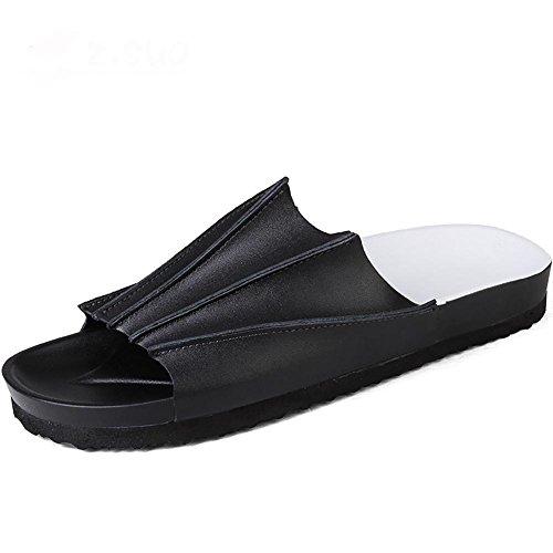 Nanlx uomo spiaggia sandali pelle manuale ciabatte infradito all'aperto tempo libero, 44
