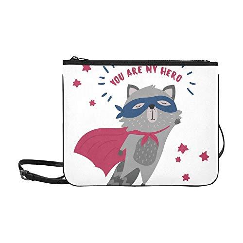 WYYWCY Nettes Waschbär-Superheld-Kostüm Sie meine kundenspezifische hochwertige Nylon-dünne Handtasche Umhängetasche Umhängetasche