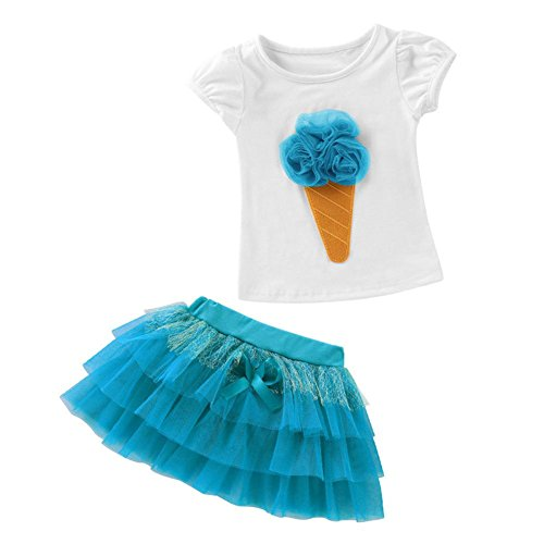 QUICKLYLY 2PCS Camisetas Bebé Niño Niña Manga Corta Vestir Tutu Falda Vestido Verano Primavera Algodón Recién Infantil Conjunto (Azul, 3 Años(120))
