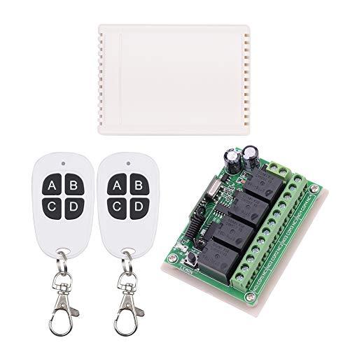 12V RF Wireless Relais-Fernsteuerungsschalter, 10A Universal 4-Kanal 433MHz Fernrelais für LED-Lampe, Beleuchtung, Motor, Gartentür DIY-Funktion & mehr (2 Sender mit 1 Empfänger) -