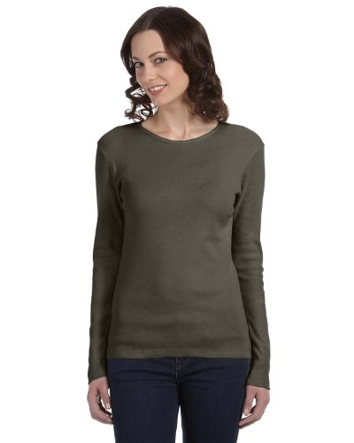 Bella+Canvas 1x1 Baby Rib Long-Sleeve Crew Neck T-Shirt (B5001) -Army -S -