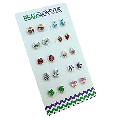 Color Enamel Silver Magnetic Clip On Studs Earrings Gift For Girls Kids Womens
