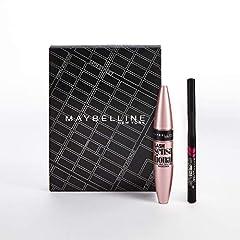 Idea Regalo - Maybelline New York Cofanetto Idea Regalo Make Up, Confezione con Mascara Ciglia Sensazionali Volumizzante e Eyeliner Hyper Precise, 2 Pezzi, Nero