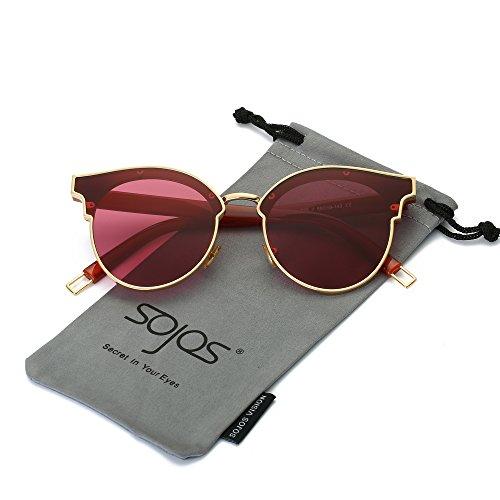 SOJOS Schick Klassische Retro Metallbrücken Runde Verspiegelt Sonnenbrille für Herren und Damen SJ1055 mit Gold Rahmen/Weinrot Linse