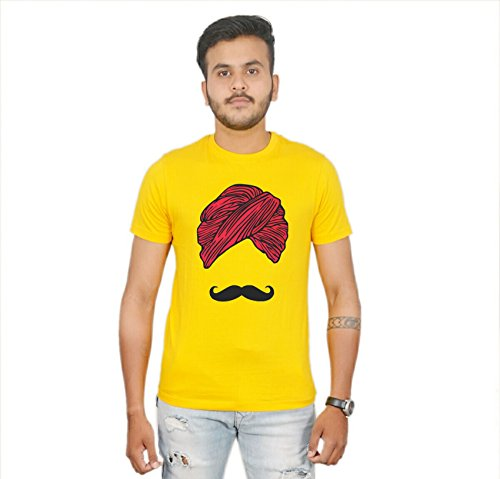 Amba'z Men's Half Sleeve Desi Turban T-shirt (Golden Yellow, Medium)