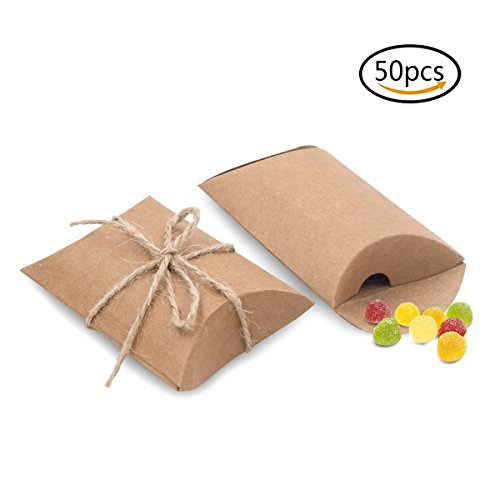Bindex Gift Boxes 50 Pcs Vintage Natural Kraft Paper Pillow Boxes for Wedding Party Candy