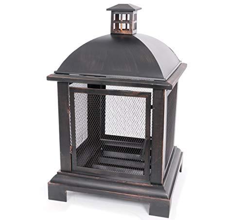 Feuerschale in Laternen Optik Feuerstelle Antik Garten Kamin Ofen 104 cm hoch Feuerkorb Vintage mit Funkenschutz und Schürhaken gratis