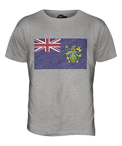 CandyMix Pitcairninseln Kritzelte Flagge Herren T Shirt Grau Meliert
