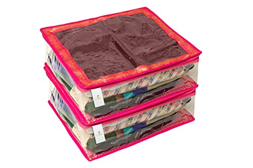 Homestrap Large Saree/Lehenga Cover/Wardrobe Organizer-Brocade (Store upto 8 to 10 Sarees) - Pink - Set of 2  available at amazon for Rs.349