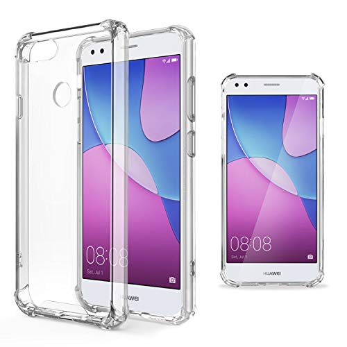 Moozy Transparent Silikon Hülle für Huawei Y6 Pro 2017, Huawei P9 Lite Mini - Stoßfest Klar TPU Case Handyhülle Schutzhülle