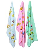 My Newborn Soft Fleece Baby Bath Towel Set, Multicolor (Pack of 3)
