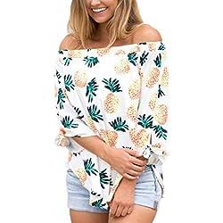 Blusa Hombre Yesmile Camiseta Las señoras de Las señoras Sexy Tops Moda Manga Larga Camiseta Blusa de impresión de piña