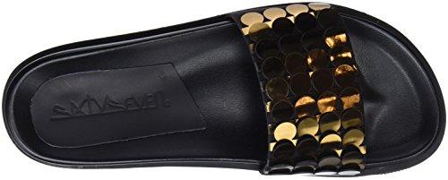 Sixty Seven Nimix, Tongs Femme Multicolore - doré/bronze - cuir de porc satiné noir (Circles Bronce F / Cerdo Serraje Satinado Negro P)