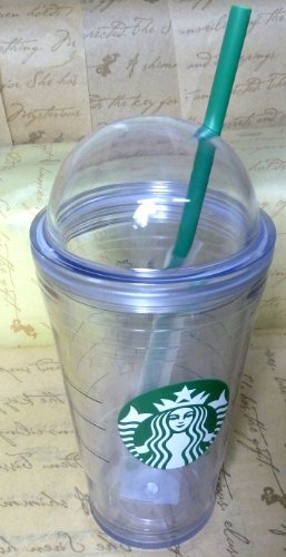 Starbucks Summer Tumbler Clear Logo Cold Cup Dome Lid,Double-Wall, Insulated Straw, 16 OZ