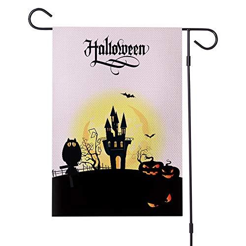 Halloween Garden Flag Castle wasserdichte Verschlüsselung Leinen Karneval Party 12X18 Zoll,Double (Flags Garden Halloween)