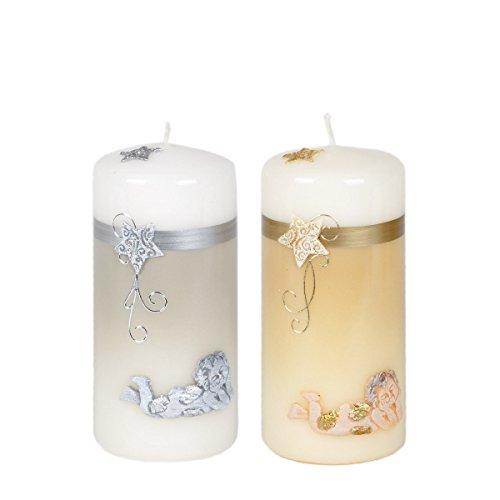 Juego de 2gris Color Crudo Kleine velas velas Ángel Diseño de Adviento