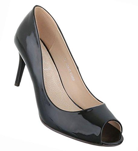 Damen Schuhe Pumps Peep Toe High Heels Stiletto Schwarz 36