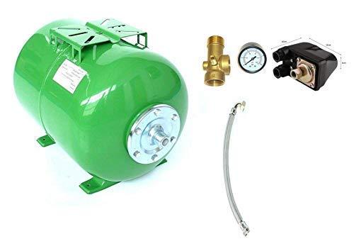 Druckkessel 50 Liter + Zubehör, Größe H 38 cm L 55 cm D 34 cm. Ausdehnungsgefäß Membrankessel Hauswasserwerk. Max. Druck 8 Bar m. EPDM Membran. -