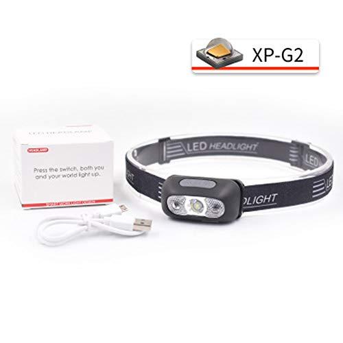 LGPNB Stirnlampe mit Sensor Super helle LED-Scheinwerfer, fortschrittliche, Wasserdichte USB-Scheinwerfer, 4 Bequeme Scheinwerfermodi für Campingjagd-Black-XP-G2