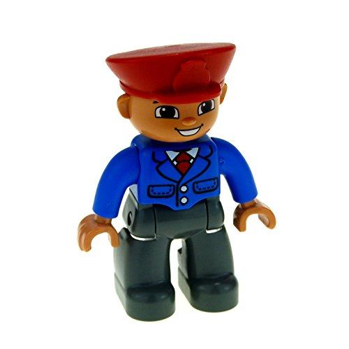 1 x Lego Duplo Figur Mann Hose schwarz Jacke blau Mütze Hut rot Uniform Bus Fahrer Reisebegleiter Zug Schaffner (Schaffner Hut)