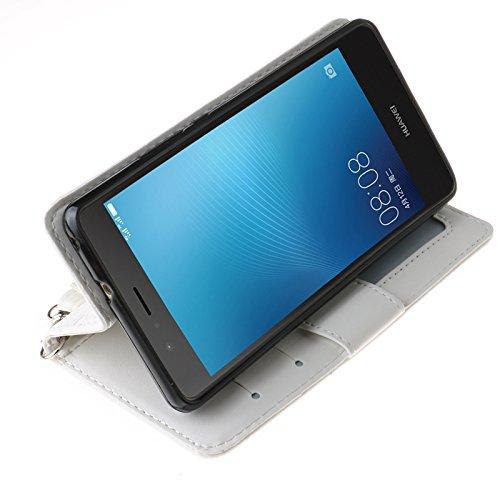 YHUISEN Geprägte Maple Leaf Design PU-Leder Flip Wallet Stand Case mit Kartensteckplatz für Huawei P9 Lite ( Color : Rose ) White