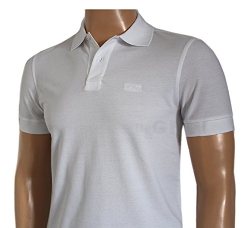 Hugo Boss Herren Poloshirt, Einfarbig schwarz schwarz / weiß Small Weiß