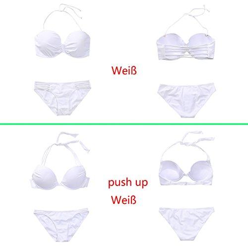 MissTalk Damen Neckholder geraffter Vorderseite gebänderten Design Klassische bikiniset Top und Hose Swimwear push up-Weiß