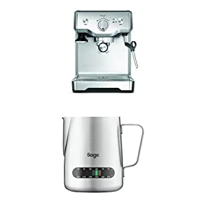 Sage by Heston Blumenthal the Duo Temperature Pro Coffee Machine, 1700 W - Silver with The Temp Control Milk Jug, 0.48 L withThe Knock Box Mini Bundle