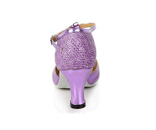 Sqiao-x- Zapatos De Señora Dance En Cuero Suave En La Parte Inferior De La Espalda Correa Pu 6cm Square Dance Dance Latin Dance Shoes The Purple