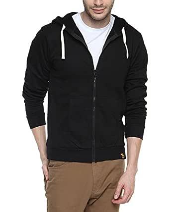 Campus Sutra Cotton Plain Sweatshirts for Men(AZW119_ZH_M_PLN_BL_AZ_S) Black