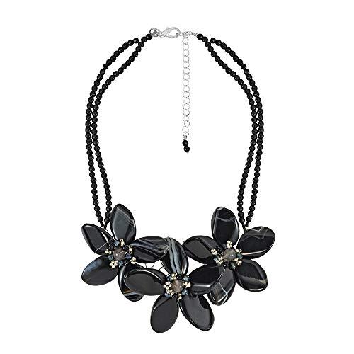 SWZ Perle Center Triple rek schwarz Achat Blume 925Sterling Silber Halskette - Blk-center