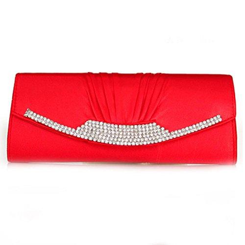Damen Abendessen Tasche Seide Handgriffbeutel Abend Beutel Hochzeit Tasche Red