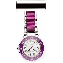 Censi 2 tone - Purple & Silver Nurses Paramedic Doctors Fob Watch