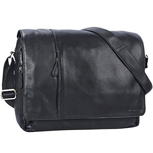 STILORD Ledertasche Herren schwarz Umhängetasche Unitasche Laptoptasche 15.6 Zoll Aktentasche Bürotasche Büffel Leder, Farbe:schwarz