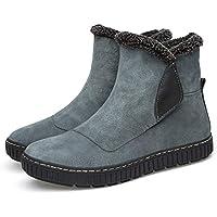 SKYROPNG Zapatos Invierno Mujer Botas De Nieve,Manguito High-Top Gris Moda Botines Espesar Suave Caliente Botas De Algodón Confortable Piso Bajo Antideslizante Ayuda Exterior Mujer 42