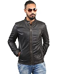 BARESKIN Men's Slant Zip Pocket Black Leather Jacket