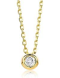 Miore Damen Gelbgold Diamant Solitär Halskette 14KT (585), Brillant 0.05 ct von 45 cm Goldkette