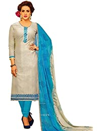 Radhey ArtsNew Designer Light Gray And Sky Blue Jecard Dress Material With Matching Dupatta